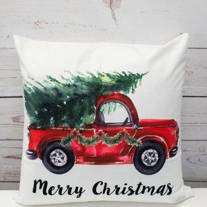 Christmas Red Truck with Tree - Pillow Cover